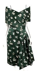 12995 Nwt Forest Green Wool Satin Embellished Evening Dress 8