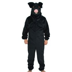 Can Move Mouth Black Pig Mascot Costume Fursuits Cospiay Animal Hot Christmas @