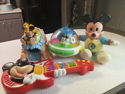 Mixed Lot Of Mickie Mouse Toys 3 Vintage 1 Modern