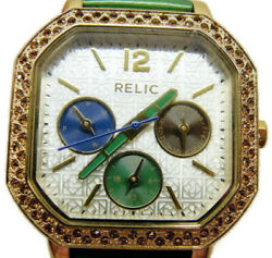 Relic By Fossil Watch Analog Wr 50m Multi Dial Green Patent Leather New Battery