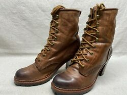 Frye Lucy Women#x27;s 9.5 B Brown Leather Lace Up Stacked Heels Ankle Booties Boots $39.00