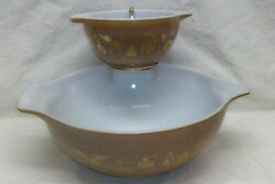 Vintage Pyrex Chip And Dip Bracket With Brown Heritage 444 And 441 Bowls Exl Cond