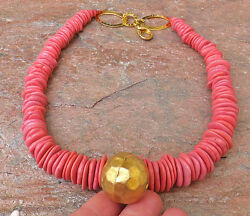 Gold Pendant Pink Turquoise Howlite Necklace Candy Like Handmade Chunky Jewelry