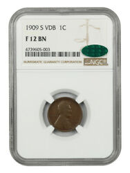 1909 S Vdb Lincoln 1c Ngc F 12 Bn Cac Very Choice And Scarce Coin