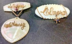 Lot 2 Wwii Era Mother Of Pearl Sweetheart Pins Mother U.s. Navy Gold Wire Wrap