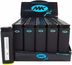 50 Ct Mk Jet Black Torch Big Full Size Lighters Refillable Windproof Full Tray