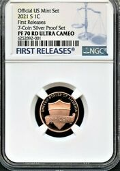 2021 S Lincoln Cent Fr From 7-coin Silver Set Ngc Pf70 Rd U.c. Blue