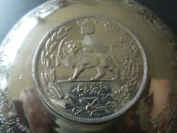 J3169 Antique Middle East  Coin/bowle Silver  Nice  Engraved 1306 See D