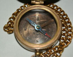Antique Vintage Maritime 2 Brass Compass Dollond London With Chain Good Gift