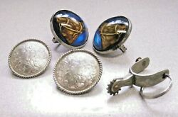Lot Of 5 Vintage Horse Bridle Rosette H.a. Chapman Glass Dome And Silver Concho