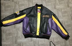 Los Angeles Lakers Carl Banks G-iii Vintage Size Large Real Leather Jacket