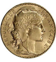 French Gold Coin 20 Francs Marianne/rooster Random Years .1867 Oz