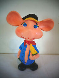 Vintage Hillbilly Country Boy Mouse W/cheese Squeak Squeaker Rubber Toy