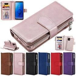 For iPhone 13 12 11 Pro Max mini XS XR Removable Zipper Flip Leather Wallet Case