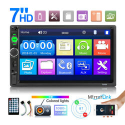Car Radio 7in Hd Double Din Mp5 Player Touch Screen Stereo Audio Bt Usb Tf Fm