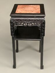Very Nice Good Quality Chinese Carved Teakwood Marble Top Plant Stand.