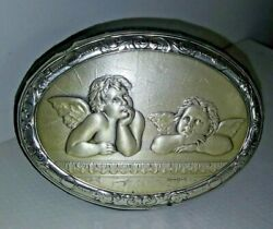 Vintage Italy Sterling 925 Cherubs Putti Oval Plaque-easel Back