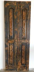 Antique Pair Mexican Old Doors 2-carved-primitive 22-rustic-29.5x83.5x1.5