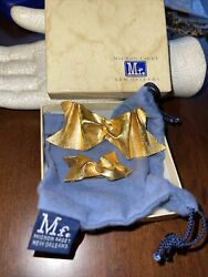 Mignon Faget Sterling Silver 925 Vermeil Small And Large Bow Pin Brooch