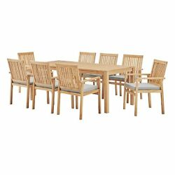 Farmstay 9 Piece Outdoor Patio Teak Wood Dining Set Natural Taupe