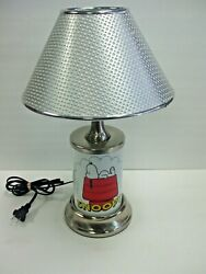 Peanuts Metal Snoopy Lamp By Js - Working With Original Lamp Shade - Nice Cond