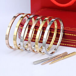 18k Gold Plated Stainless Steel Love Bracelet Size 16-21cm,with Tool And Gift Box