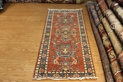 Top Quality 6and039 Long Runner Handmade Vegetable Dye Oriental Rug Beige Blue Rust