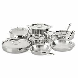 Stainless Steel Tri-ply Bonded Dishwasher Safe Cookware Silver 14-piece Set