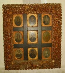 Victorian Antique Sea Shell Display Frame Sailors Valentine 9 Ambrotypes