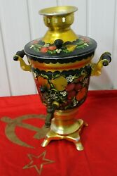 💥 Russian Samovar Electric Kettle Tea Teapot Painted Khokhloma Ussr Red And Black