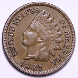 1887 Indian Head Cent Penny Choice Au+ Unc Free Shipping E598 Ach