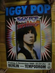 Iggy Pop Poster And The Stooges Instinct Face Shot November 4 1988 Berlin And