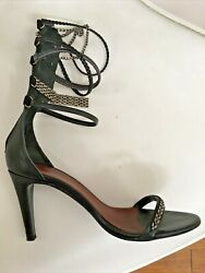 Isabel Marant Heels 36 Strappy Sandals Roman Infused Black Silver Hardware