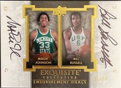 2013-14 Exquisite Collection Enshrinements Duos Magic Johnson Bill Russell