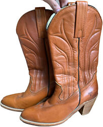 FRYE VNTG Sz 9B Leather Embroidered Western Cowboy Brown Boots $54.99