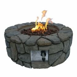 Outdoor Round Stone Propane Fire Pit, Weather Resistant, With Adjustable Flame