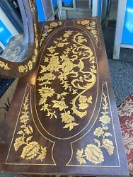 Vintage Italian Inlaid Desk Mirror Chair Vanity Ornate Entry Table Louis French