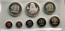 Jamaica 1974 Henry Morgan Mint Set Of 8 Coins,with 2 Silver Coins
