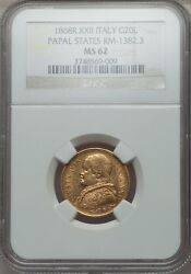 Italy Papal States 1868 20 Lire Gold Coin Choice Uncirculated Certified Ngc Ms62