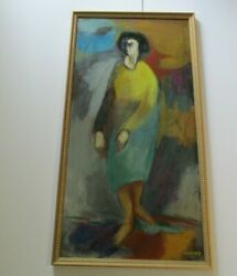 Leon Saulter 48 Abstract Painting Modernist Woman Large Expressionism Portrait