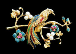 Fabulous Vintage 18k Gold Enamel And Jeweled Peacock Bird 2 Pin Back Brooch