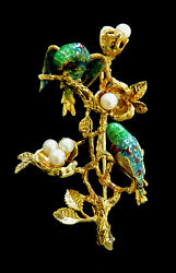 Beautiful Vintage 18k Gold And Enamel Parrots On Pearly Branch Pin Back Brooch