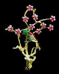 Beautiful Vintage 18k Gold And Enamel Parrot Jeweled Pink Flowers Pin Back Brooch