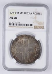 Au58 1798 Cm Mb Russia 1 Rouble - Graded Ngc 3573