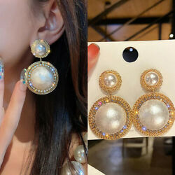 1 Pair Womanand039s Full Crystal Gold Dangle Pearl Earrings Studs For Women Jewelry