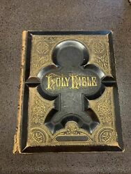 Rare Antique 1880 Browns Self Interpreting Large Family Bible Aimes
