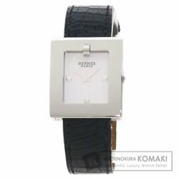 Hermes Be1.210 Belt Watch Wristwatch Stainless Steel Leather Mens Secondhand