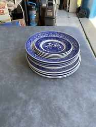 Willow Ware By Royal China - Royal-ironstone - Blue And White 12 Pieces