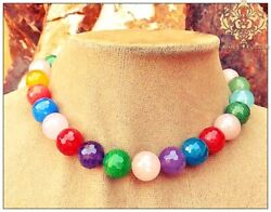 Rainbow Pretty Faceted Jade Statement Necklace Chunky Jewelry Red Blue Purple