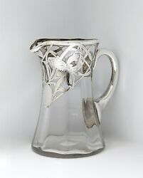 Antique Art Nouveau Glass And Silver Overlay Milk/cream Pitcher Cup For Tea/coffee